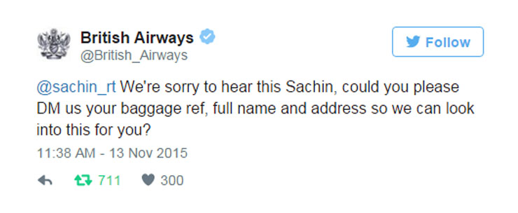 Sachin British Airways tweet 3
