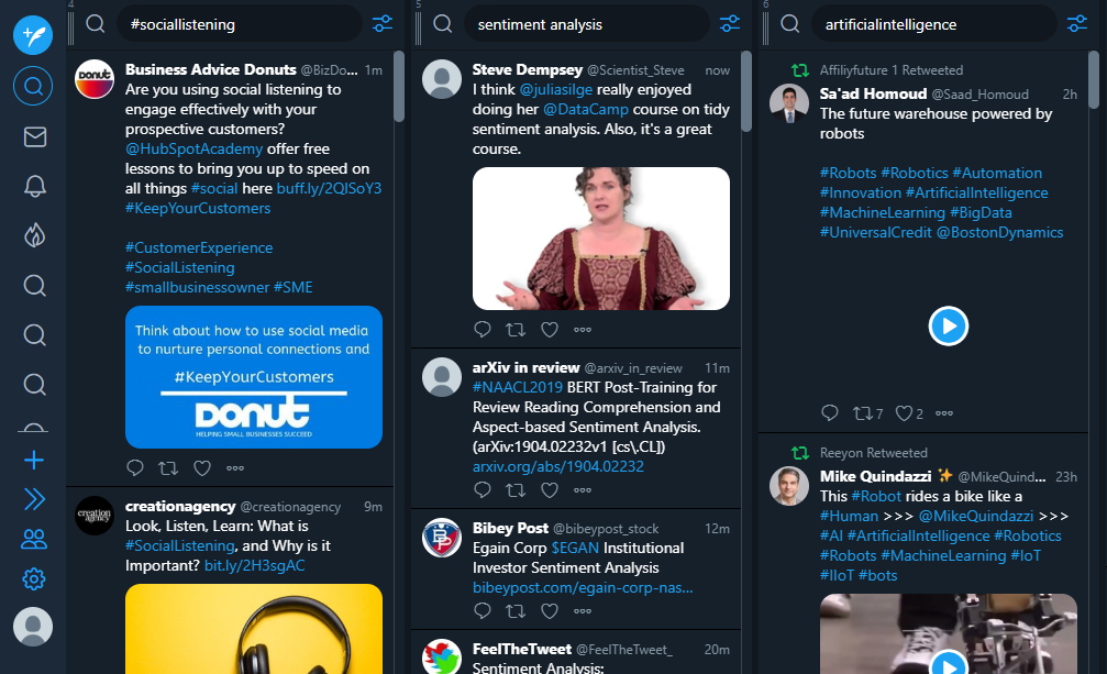 TweetDeck - social listening tools
