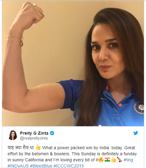 CWC Preity Zinta Tweet