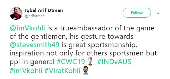Virat Kohli praise for INDvAUS
