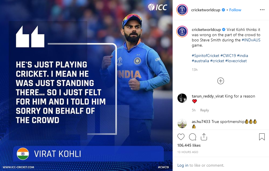 Virat Kohli True Sportsmanship at the Cricket world cup