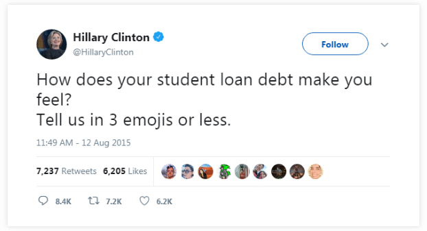 Hillary Clinton's use of Emoji