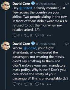 United Airlines David Corn