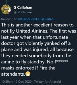 United Airlines David Corn Tweet